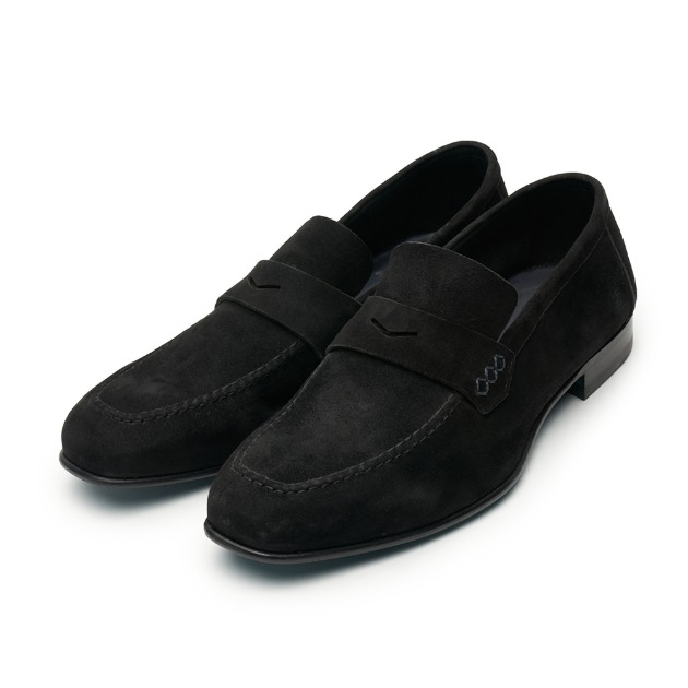 L204 Via Roma Suade Loafer - Black