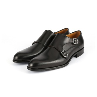 T618 Double Monk Strap Shoe - Black