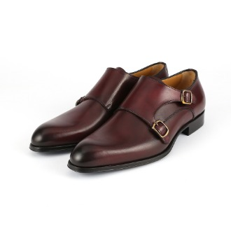 T618 Double Monk Strap Shoe - Burgundy
