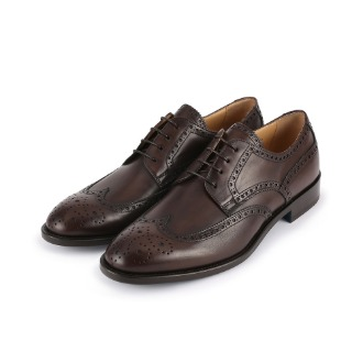 SM170 Brogue Detail Wing-tip Derby Shoe - Dark Brown