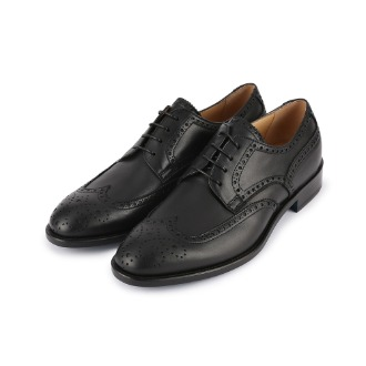 SM170 Brogue Detail Wing-tip Derby Shoe - Black